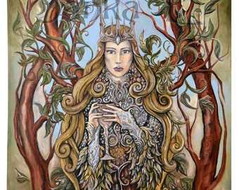 Original oil painting - Queen of the Forest, painting on canvas, elven art