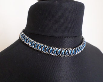 Custom Colour Chainmail Choker - Stainless Steel and Anodized Aluminium Vertebrae Chainmaille Collar