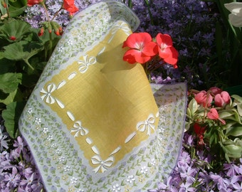 Delicate ladies handkerchief in yellow, purple, green and white cotton makes me think of spring.