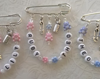 Twin Baby kilt pin brooch~pram charm~changing bag charm~baby show gift~personalised