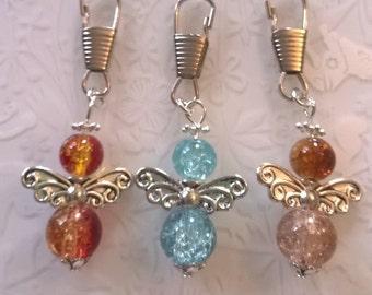 3 x Guardian angels zipper bag charms~glass beaded handmade angel~secret santa gifts