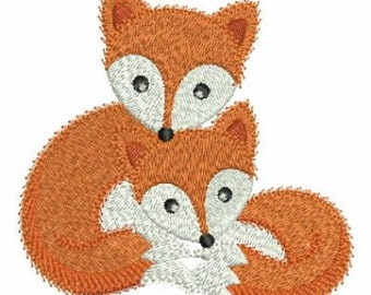 Mom And Baby Animal Fox Machine Embroidery Design Instant Download 4x4 hoop SHE5083_02