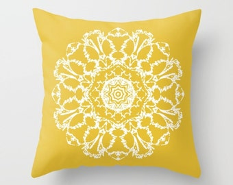 Yellow Mandala Pillow  - Mustard Yellow Pillow  - Modern Home Decor - Accent Pillow - Decorative Pillow - Aldari Home