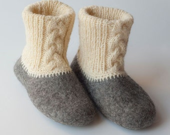 Eco friendly felted slippers