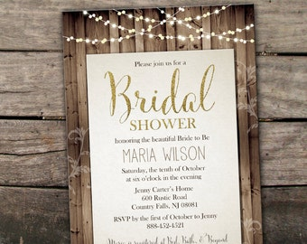 Printed or Digital Fall Bridal Shower Invitation Country Rustic Autumn Shower Invitation Chalkboard Mason Jar Glitter Shower Invitation