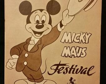 Original 1961 Mickey Mouse Film Festival Movie Poster German Pressbook Herald Program, Walt Disney, Pluto, Donald Duck, Minnie Mouse, Ver 2