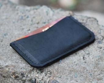 Credit card holder, leather card holder, thin wallet, front pocket wallet, leather wallet, W012 Black