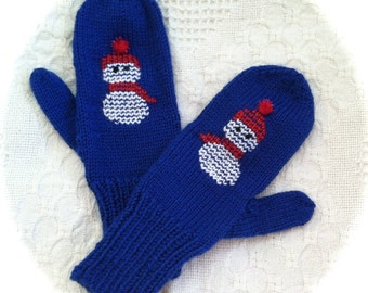 Hand Knit Snowman Mittens/ Made to order