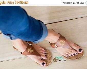 ON SALE FAST Ship!! Monogrammed Sandals, Monogrammed Flip Flops, Tan or Black Sandals