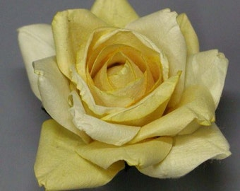 Handmade Paper/Parchment Roses - Yellow - 12 roses per bag