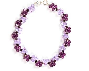 Hand made Amethyst and Violet Swarovski crystal bracelet