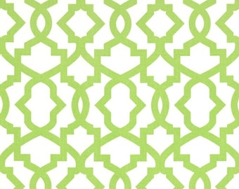 Kiwi Green Geometric Fabric by the Yard Designer Cotton Drapery or Upholstery Fabric Green Lattice Contemporary Curtain Fabric B265