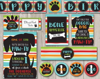 Puppy Birthday Pawty Kit | Birthday Day Invitations with matching party decor | Printable