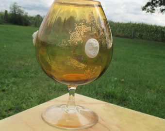 Vintage amber round Chalice Vase Art Glass lockets gold gilt