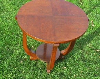 Art Deco Coffee Side Table Round Wood Authentic 1920s