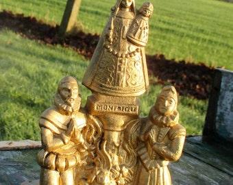 Vintage Brass Virgin Mary Madonna Statuette Belgium Montaigu Scherpenheuvel
