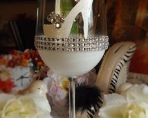 Hand painted wine glass, Shoe glass,high heels, Bridal Party, Bridesmaids gift, Bachelorette party accessories
