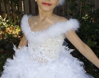 White feather Tutu dress, swan lake costume,pageant dress, swan lake  ballerina tutu,birthday, wedding, theme wear,dance costume 0-8years