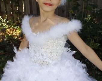 Swan  lake costume head piece, swan lake  ballerina crown, birthday wedding,dance headband crown, white marabou feather headpiece with jewel