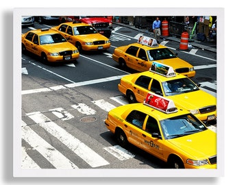 New York City Taxi Cab Print Taxi Photo NYC Photography Color Print Interior Design Home Staging Modern Decor Manhattan Art Print Hipster