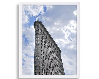 New York Art Print Flatiron Building Print Architectural Photography Clouds NYC Print Modern Wall Art Home Decor Manhattan Art Gift for Her