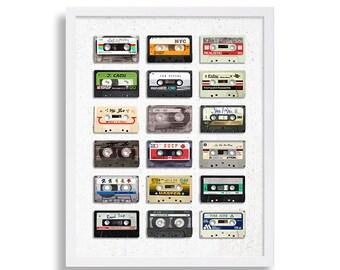 Music Art Print Modern Art Eclectic Print Old Mix Tape Cassette Tape Poster Retro Print Hipster Home Decor Gift for Music Lover