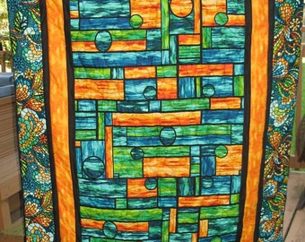 CIJ Stained glass quilt lap quilt wallhanging Quiltsy Handmade