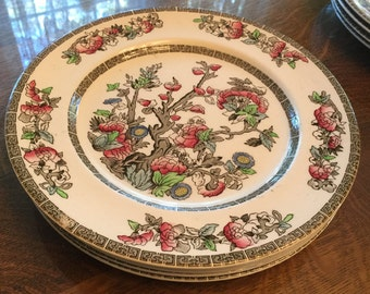 "Johnson Bros INDIAN TREE Dinner plates lot of 4 polychrome transferware 10"""
