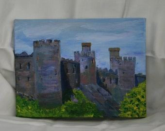 """Castle in Wales, """"Conwy Castle"""", Original Acrylic Painting, Box Canvas, Impressionist,  Landscape Painting, 9 x12 inches Ready to Hang"""