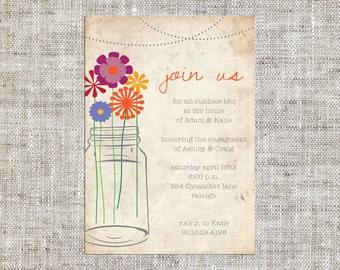 Mason Jar Engagement Invite