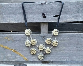 "Handmade Vintage Lemon Soda Bottle Cap ""Bristol"" Statement Necklace"