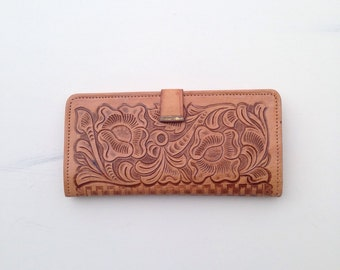 Vintage Leather Wallet, Ethnic Wallet, Hand tooled leather