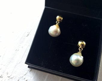 South sea pearl earrings 18k