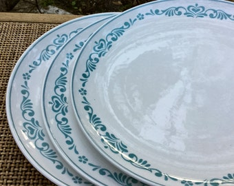 "Vintage Franciscan Whitestone Ware Blue Fancy 10 1/4"" Dinner plates Set of 3"