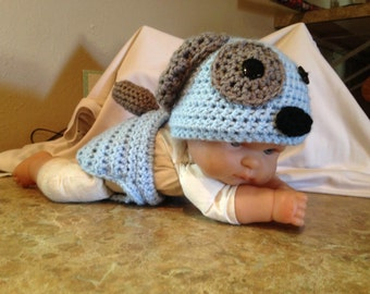 Crochet puppy outfit; photo prop; matching set