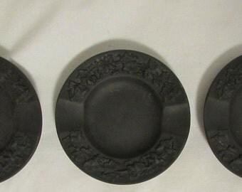 Wedgwood Jasperware Mini Ashtrays, Chocolate Brown, Set of Three, 1960's