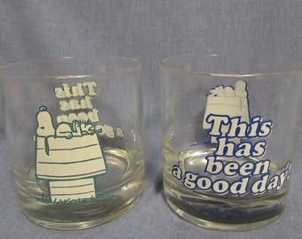 Snoopy Beverage Glasses, Set of Two, 1970's