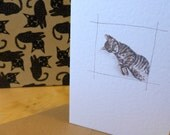 Tabby bengal cat illustration greeting card blank notelet