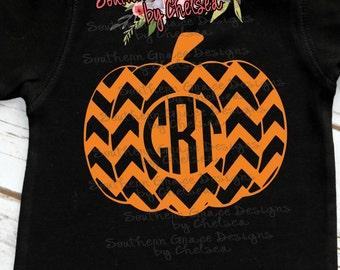 Chevron Pumpkin Monogram Child's Shirt
