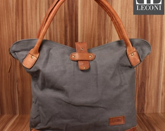 LECONI shopper handbag shoulder bag lady bag leather of canvas grey LE0051-C