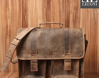 LECONI large Briefcase teacher business bag College Pocket Buffalo Leather Brown LE3030-vin