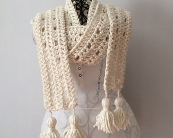 Crochet Scarf - Scarf with Tassels - Warm Scarf - Crochet Long Scarf - gift for her - Oversized Scarf - Winter Scarf - knit - under 30
