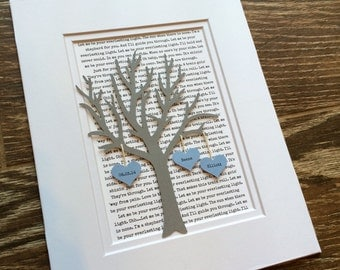Personalized 1st Year Anniversary Gift Tree, Paper Wedding Anniversary, Long Distance relationship Gift, Engagement Gift for Couple