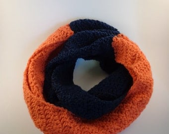 Crocheted Chevron Color Block Scarf
