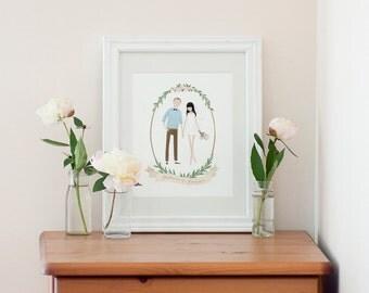 Custom Couple Illustration Valentine Wedding Engagement Anniversary Gift Idea
