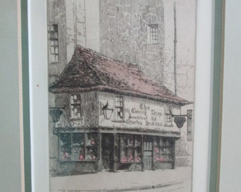 """Original Cecil Forbes Etching """"The Old Curiosity Shop"""""""