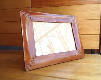 Leather frame. Photo frame. With decorative hand sewing. For photo 6x8,3 inches (15x21 cm). Desk accessory. OOAK.