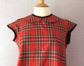 Tartan red peter pan collar button back blouse