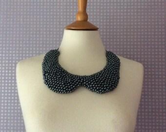 Vintage grey beaded necklace/collar