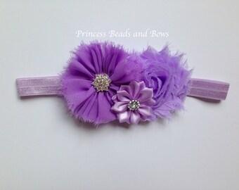 Shades of Lavender Purple Headband, Purple Shabby Chic Flower Headband,  Baby Headband, Girls Headband, Newborn Headband